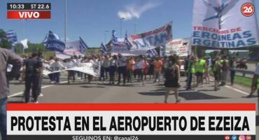 Protesta de trabajadores aeronáuticos en Aeropuerto de Ezeiza: tras la protesta, no descartan nuevo corte