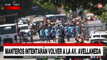 Segundo día de protesta de manteros en Avenida Avellaneda bajo estricto control policial