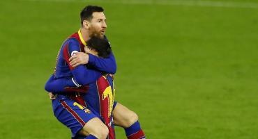 Messi entró desde el banco y le dio el triunfo al Barcelona