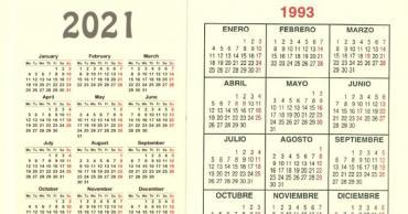 ¿Lo sabías? El calendario de 2021 es exactamente igual al de 1993