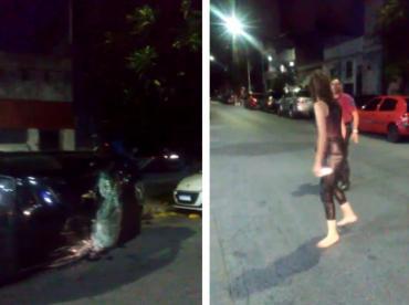 VIDEO: chocó tres autos, volcó y mordió a policías que intentaron identificarla