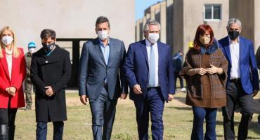 Alberto Fernández junto a Cristina Kirchner, Kicillof y Massa: