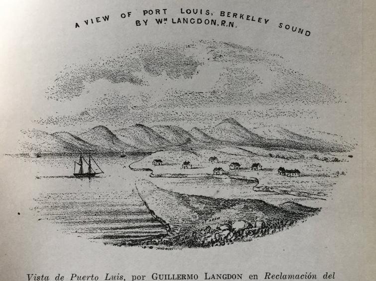 Vista de Puerto Luis, Malvinas, efemérides 10 de junio
