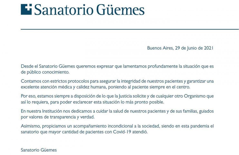 Sanatorio Güemes COMUNICADO