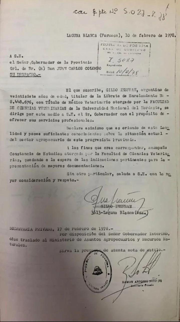Gildo Insfrán, trabajó en el Ministerio de Asuntos Agrarios durante la última dictadura