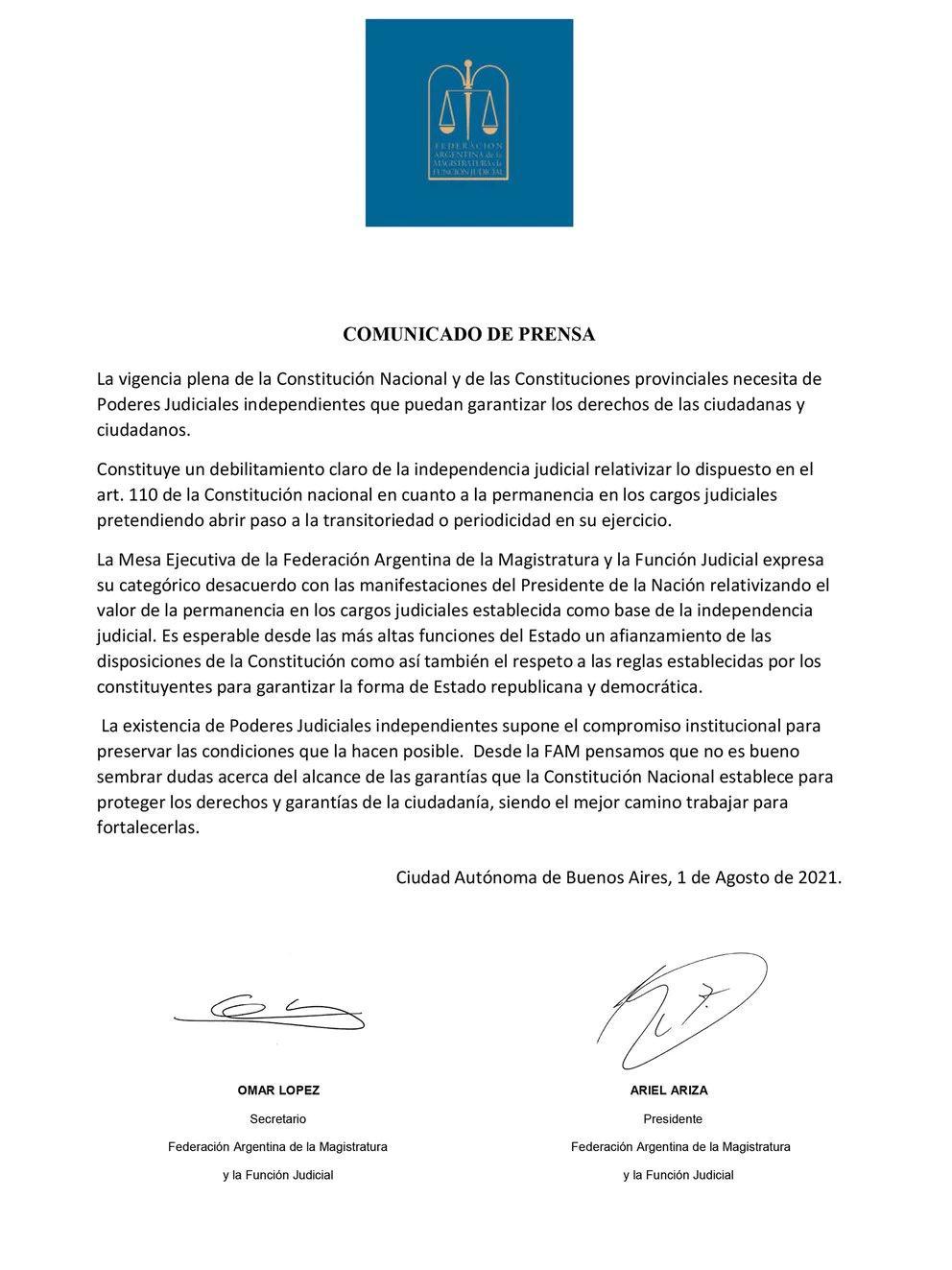 Carta de Federación Argentina de la Magistratura y la Función Judicial al presidente Alberto Fernández