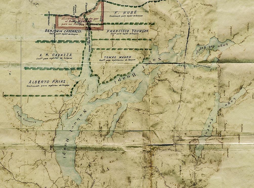 El mapa donde figuran las 7.500 hectáreas (en rojo) que legó el perito para la creación del primer Parque Nacional
