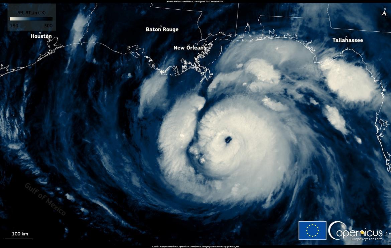 Huracán Ida desde el satélite, Golfo de México, Reuters
