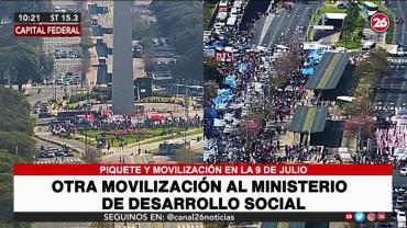 ¡Imposible transitar!: Caos en la 9 de Julio por corte de organizaciones piqueteras de izquierda