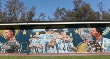 La Selección argentina descubrió un espectacular mural por la obtención de la Copa América